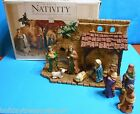 Unique Rare 1997 Mediterranean Nativity With Creche Stable Stone Wall 9 Piece