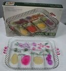 VINTAGE INDIANA GLASS 5 Part Divided Relish Serving Tray Rainbow Mist  U966