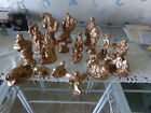 Vtg 19 Piece Nativity Set Hand Painted Gold Plaster Figures 7 1 2 tall camels