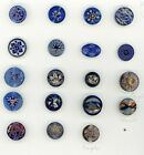 19 mostly incised buttons with gold luster.  17 are cobalt, 2 are purple.