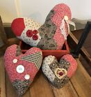 3 Antique Quilt Hearts Over 100 Yrs Primitive Hand Made c1800 Red Valentines