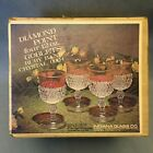 Set/4 Diamond Point Ruby Band 12 Oz Goblets Indiana Glass w/Original Packaging