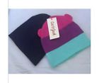Cat & Jack 2 Pack Girl Beanies Pink Purple Turquoise With Ears Navy Blue Size 0+