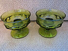 Vintage Indiana green glass Kings Crown Thumbprint pair of candlestick holders