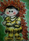 Aceo Original Art Little Boy Sweet Whimsical Happy Playing Child Indian Arrows