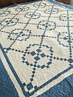 Gorgeous Antique Blue And White Irish Chain Hand Quilted Quilt