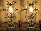 PAIR OF Antique Vintage silver plated Cage Style Crystal Table Lamp 1940's.9 in