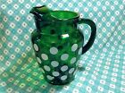 Fire King Forest Green White Dot 86oz Pitcher in Excellent Condition