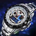 Stainless Steel Men's Wristwatches Fashion Binary LED Pointer Waterproof Sports