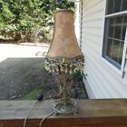 Small brass antique table lamp with shade