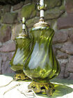 1960s Pair Vintage Green Optic Swirl Glass Accurate Casting Lamps Regency Style