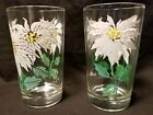 Pair of Vintage Boscul White Poinsettia Peanut Butter Drinking Glasses Flowers