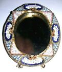 Antique Micro Mosaic Brass Easel Back Oval Mini Picture Frame Italy