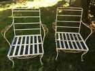 Vintage Pair of 1960s Era Wrought Iron Arm Chairs
