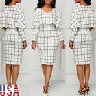 Elegant Women Flounce Flared Office Business Dress Classical Plaid Party Gown US