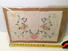 Antique Linen Hand Embroidered Panel