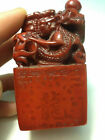 Chinese Hand-carved shoushan stone Dragon Seal Statues