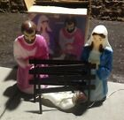 VTG 4 PC EMPIRE CHRISTMAS NATIVITY SET 27 PLASTIC LIGHT UP BLOW MOLD BOX
