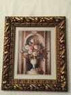ANTIQUE GOLD ORNATE WOOD FRAMED PICTURE ROSE FLORAL PRINT