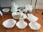 VINTAGE FIRE KING ANCHOR HOCKING MILK GLASS DISH LOT CASSEROLE BAKING CUP PLATES