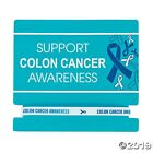 12 Blue Ribbon Support Colon Cancer Awareness Thin Rubber Bands White