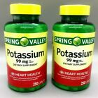 Spring Valley Potassium 99mg Heart Health 250 Caplets 2 Pack Exp 10 19+