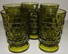 6 Indiana Glass Company Whitehall Cubist Footed Avocado Juice Glass Green