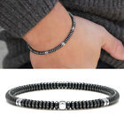 Mens 4mm Silver Hematite Disc Beads Gemstone Stretch Bracelet Stacking Jewelry
