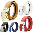 Mens Genuine Leather Golf Dress Belt Exact Fit Automatic Buckle Ratchet Belt