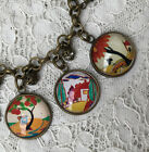 CLARICE CLIFF Glass Dome CHARM BRACELET Vintage Art Deco Designs TREES  HOUSES