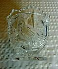 Vintage Clear Glass Saw Tooth Rim Footed Candy/Sugar Bowl Embossed Bird