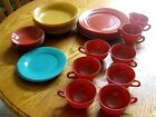 25 Pc Vintage Hazel Atlas Dinnerware Set Old Colored Dishes Platonite 1930-1940