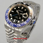 40mm PARNIS black dial ceramic jubilee Sapphire glass GMT automatic mens watch