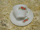 VINTAGE FIRE KING WARE 17 ROSE FLOWER CUP AND SAUCER MADE IN USA