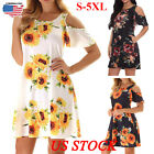 Plus Size Womens Loose Sunflower Casual Midi Dresses Off-the-shoulder Sundress