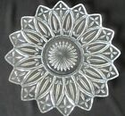 Vtg Pressed Clear Federal Glass 16 Point Flower Plate Platter ~ Unique Star Dish