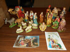 Vintage Nativity Set 19 Pc Chalkware Plaster Hand Painted Creche Figures 1940 50