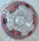 Vintage Hand Painted Roses Glass Console Bowl Center Piece 12 1/2