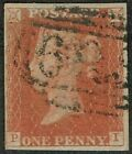 1841 1d Red Pl 46 PI Fine Used PAIR 4m blurs in letter squares Cat 3000