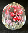 Vintage Bohemian Faceted Paperweight Flowers 3 1 2 Tall