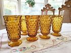 4 Amber Iced Tea Glasses Whitehall Colony Indiana Glass  Set of 4 Footed 14 oz