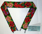 Native Mexican HUICHOL Embroidery Seed Bead Red BIRDS FLOWERS Black BELT M L