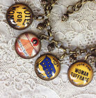 VOTES FOR WOMEN Patriotic GLASS DOME CHARM BRACELET Vintage SUFFRAGETTE PINS