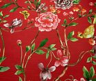 Red Pink Purple Green Yellow Floral Vine Butterfly Bird Fabric By The Yard