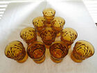 10 Pc Indiana Glass Whitehall Amber Water Juice Tumbler Cubist Footed Glasses