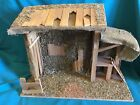 LARGE VINTAGE WOODEN NATIVITY CRECHE MANGER 20x8x15