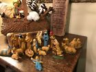 VINTAGE HARD PLASTIC NATIVITY FIGURES HONG KONG 18 pieces ALL ORIG