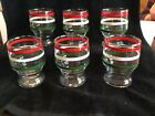 6 Vintage MCM Anchor Hocking Footed Juice Glasses-Red White Green-3 1/2
