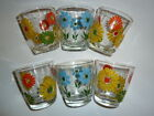 6 VINTAGE HAZEL ATLAS 1/2 PINT SOUR CREAM GLASSES 1960's FLOWER POWER FLORAL