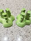 fiesta chartreuse pyramid candle holders please read description. Free shipping!